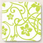 Diseño floral de la voluta de la verde lima posavasos de bebidas
