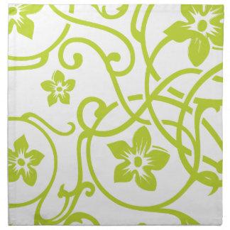 Diseño floral de la voluta de la verde lima servilleta de papel