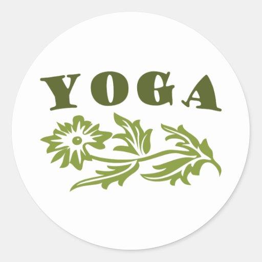 Diseño floral de la yoga pegatina redonda