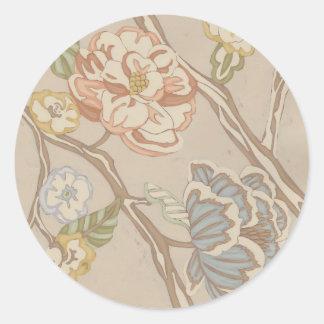 Diseño floral de la zaraza de la organza de pegatina redonda