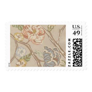 Diseño floral de la zaraza de la organza de timbres postales