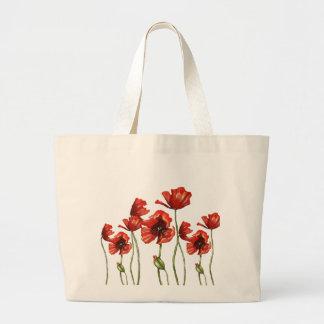 Diseño floral de las amapolas rojas bolsa tela grande