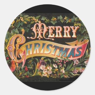 Diseño floral de las Felices Navidad del vintage Pegatina Redonda