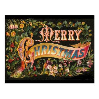 Diseño floral de las Felices Navidad del vintage Tarjetas Postales