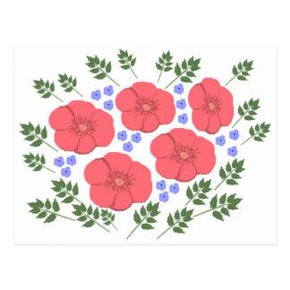 Diseño floral de los años 70 retros tarjeta postal