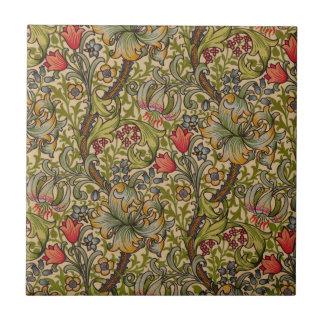 Diseño floral de oro de Lilly del vintage Azulejo Cuadrado Pequeño