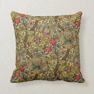 Diseño floral de oro de Lilly del vintage Cojín