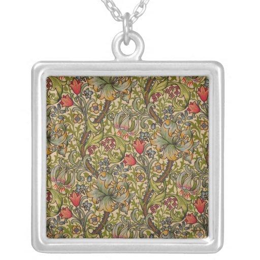 Diseño floral de oro de Lilly del vintage Colgante Cuadrado