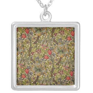 Diseño floral de oro de Lilly del vintage Collar Plateado