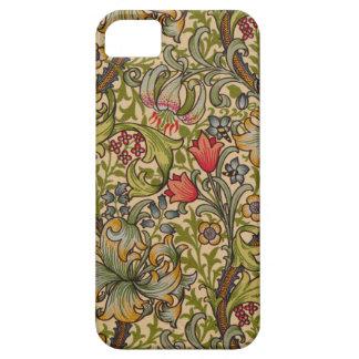 Diseño floral de oro de Lilly del vintage iPhone 5 Fundas