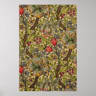 Diseño floral de oro de Lilly del vintage Posters