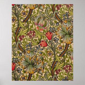 Diseño floral de oro de Lilly del vintage Poster