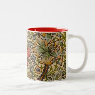 Diseño floral de oro William Morris de Lilly del Taza De Dos Tonos