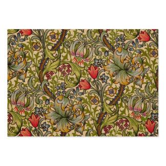 Diseño floral de oro William Morris de Lilly del v Tarjetas De Visita
