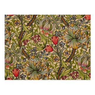 Diseño floral de oro William Morris de Lilly del v Postal