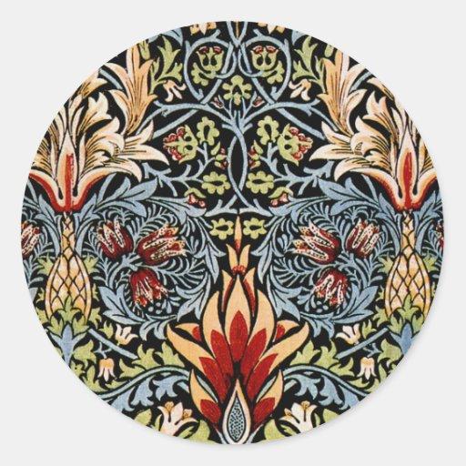 Diseño floral de William Morris Snakeshead Pegatina Redonda
