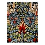 Diseño floral de William Morris Snakeshead Postal