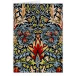 Diseño floral de William Morris Snakeshead Tarjeton