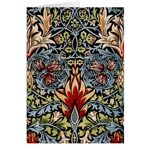Diseño floral de William Morris Snakeshead Tarjeta Pequeña