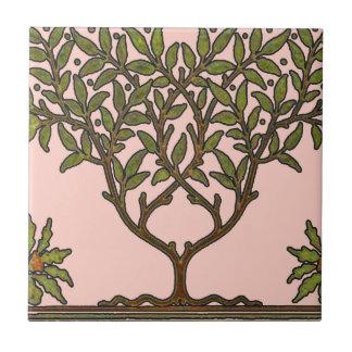 Diseño floral del árbol del vintage de William Mor Azulejo Cuadrado Pequeño