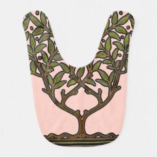 Diseño floral del árbol del vintage de William Mor Babero De Bebé