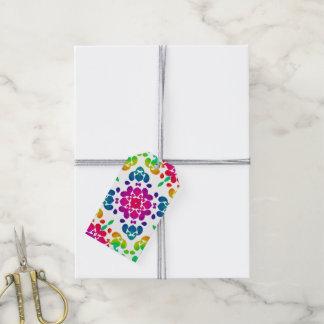 Diseño floral del arco iris colorido brillante etiquetas para regalos