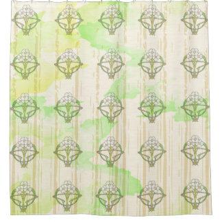 Diseño floral del art déco céltico cortina de baño