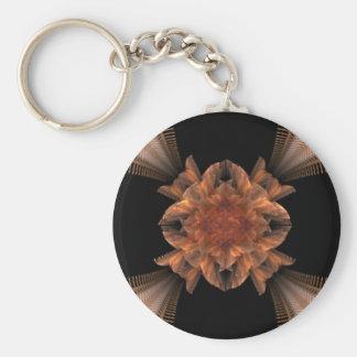 Diseño floral del arte anaranjado del fractal llavero redondo tipo pin