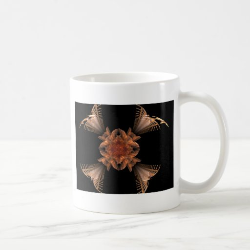Diseño floral del arte anaranjado del fractal tazas de café