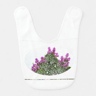diseño floral del bosquejo del arbusto verde de babero para bebé