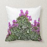 diseño floral del bosquejo del arbusto verde de almohada