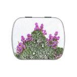 diseño floral del bosquejo del arbusto verde de latas de dulces