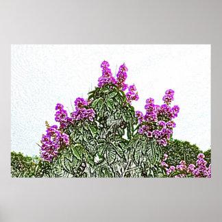 diseño floral del bosquejo del arbusto verde de impresiones