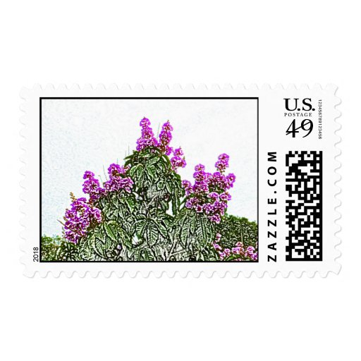 diseño floral del bosquejo del arbusto verde de sello