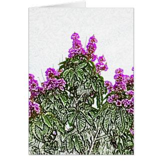 diseño floral del bosquejo del arbusto verde de felicitación