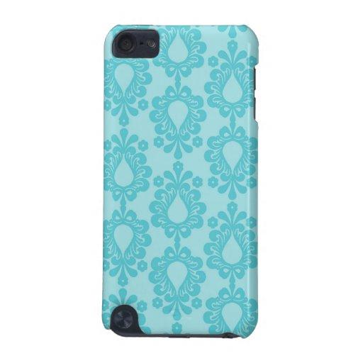 diseño floral del damasco de la flor azul bonita d