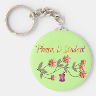 Diseño floral del estudiante de Pharm D Llavero Redondo Tipo Pin