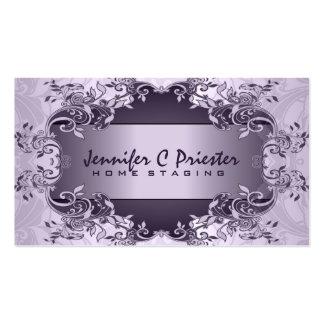 Diseño floral del extracto púrpura del vintage de tarjetas de visita
