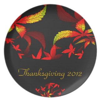 Diseño floral del fractal de la acción de gracias plato para fiesta