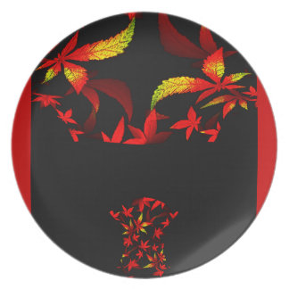 Diseño floral del fractal del día de fiesta del plato de comida