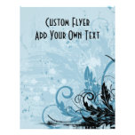 Diseño floral del Grunge - azul claro Tarjetas Informativas