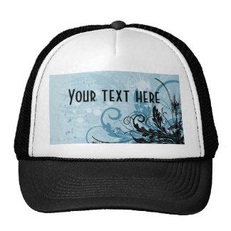Diseño floral del Grunge - azul claro Gorras De Camionero