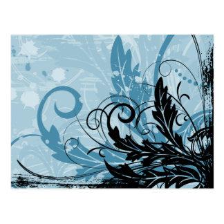 Diseño floral del Grunge - azul claro Postal
