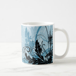 Diseño floral del Grunge - azul claro Taza Clásica