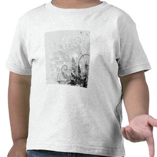 Diseño floral del Grunge - B W gris claro Camisetas