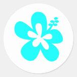 Diseño floral del hibisco de la aguamarina pegatina redonda
