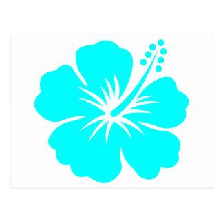 Diseño floral del hibisco de la aguamarina postal