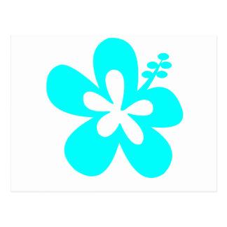 Diseño floral del hibisco de la aguamarina postales