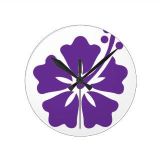 Diseño floral del hibisco reloj redondo mediano