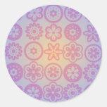 Diseño floral del Hippie Etiquetas Redondas